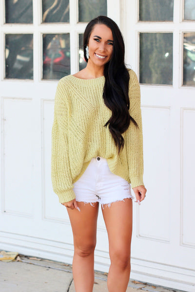 Sweet Spring Sweater: Lime - Bella and Bloom Boutique