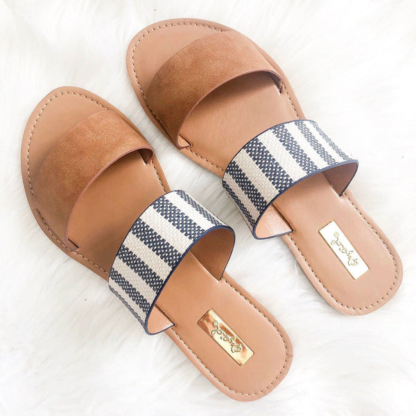RESTOCK: Casey Double Strap Sandals: Camel/Navy - Bella and Bloom Boutique