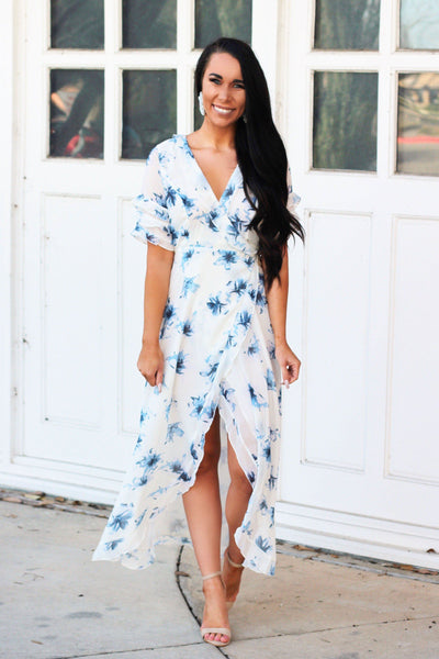 Floral Favorite Maxi Dress: Blue/White - Bella and Bloom Boutique