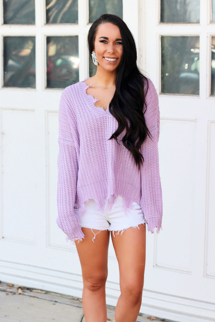 Distressed Essential Sweater: Lavender - Bella and Bloom Boutique