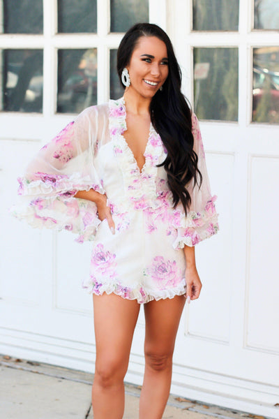 Dainty Florals Romper: White Multi - Bella and Bloom Boutique