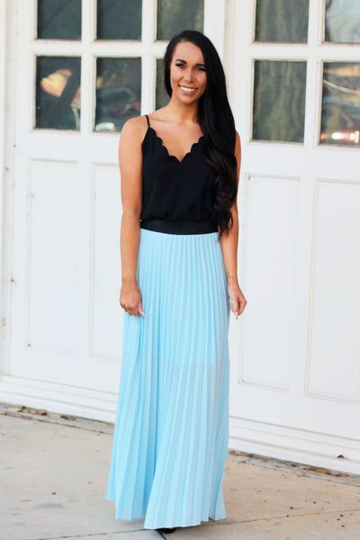 Pastel Pleats Maxi Skirt: Light Blue - Bella and Bloom Boutique