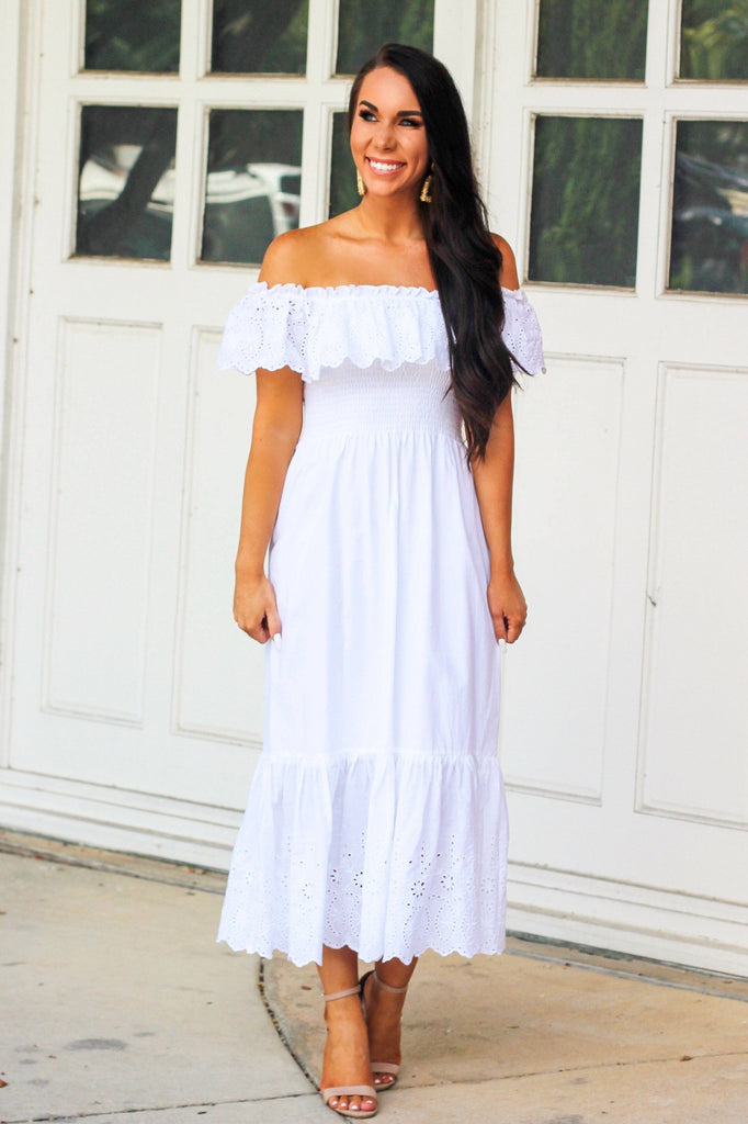 Beach House Midi Dress: White - Bella and Bloom Boutique