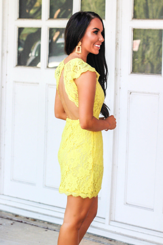 Sweet Lace Dress: Yellow - Bella and Bloom Boutique