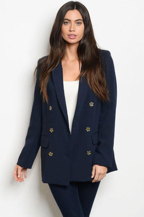 RESTOCK: She Means Business Blazer: Navy - Bella and Bloom Boutique