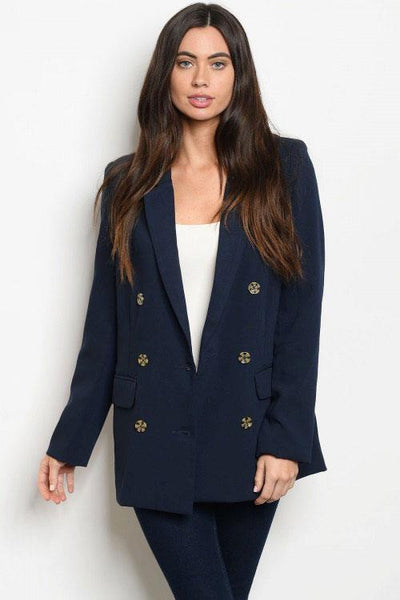 She Means Business Blazer: Navy - Bella and Bloom Boutique