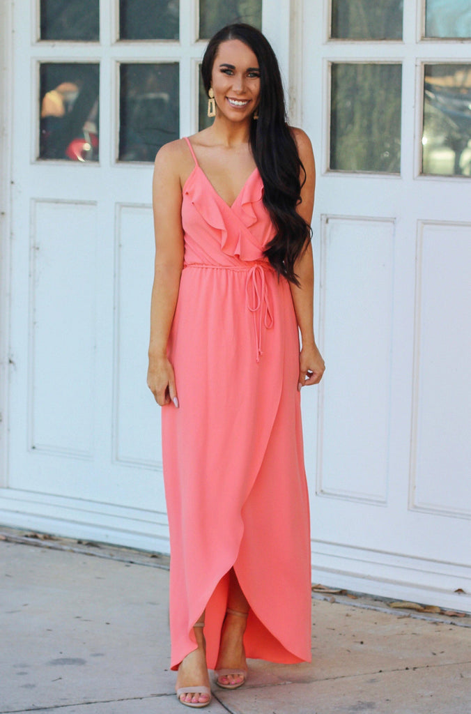 RESTOCK: Neon Spring Maxi Dress: Neon Coral - Bella and Bloom Boutique