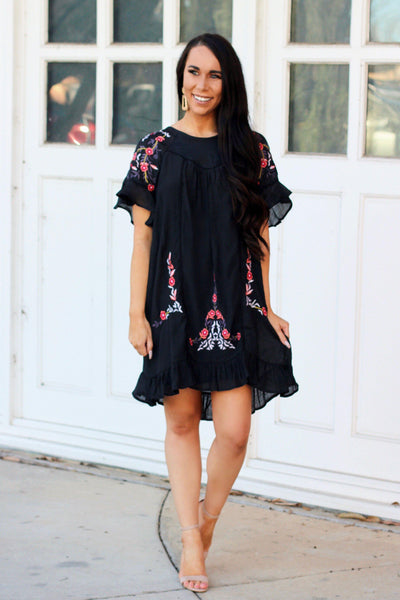 RESTOCK: Cabo Cutie Dress: Black Multi - Bella and Bloom Boutique
