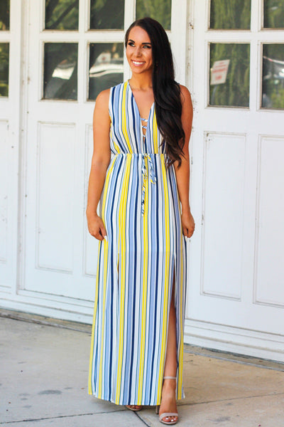 Hello Sunshine Maxi Dress: Yellow/Blue - Bella and Bloom Boutique