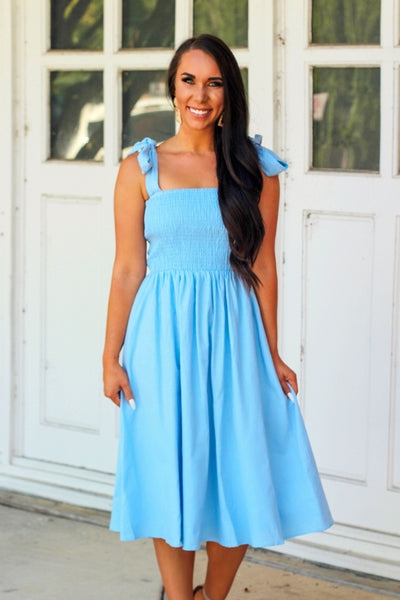 Sweet and Simple Midi Dress: Light Blue - Bella and Bloom Boutique