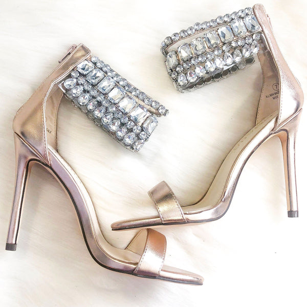 Lexy Embellished Heels: Rose Gold - Bella and Bloom Boutique