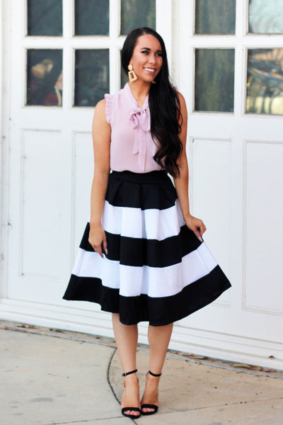 So Kate Midi Skirt: Black/White - Bella and Bloom Boutique