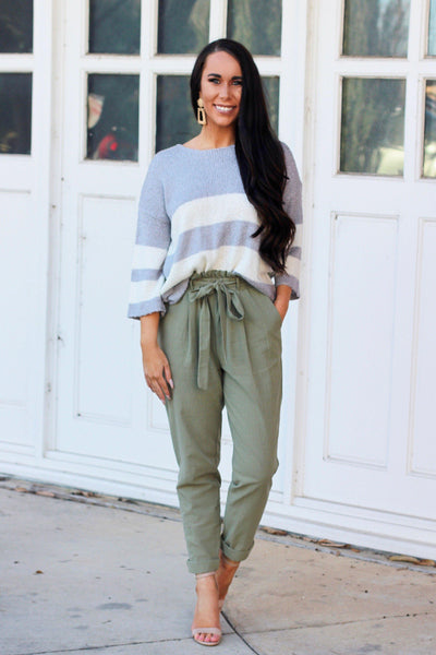 RESTOCK: Run the Show Pants: Light Olive - Bella and Bloom Boutique