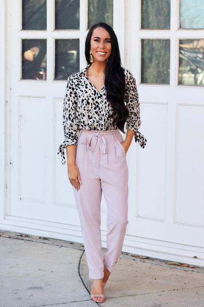 Boss Babe Pants: Blush - Bella and Bloom Boutique