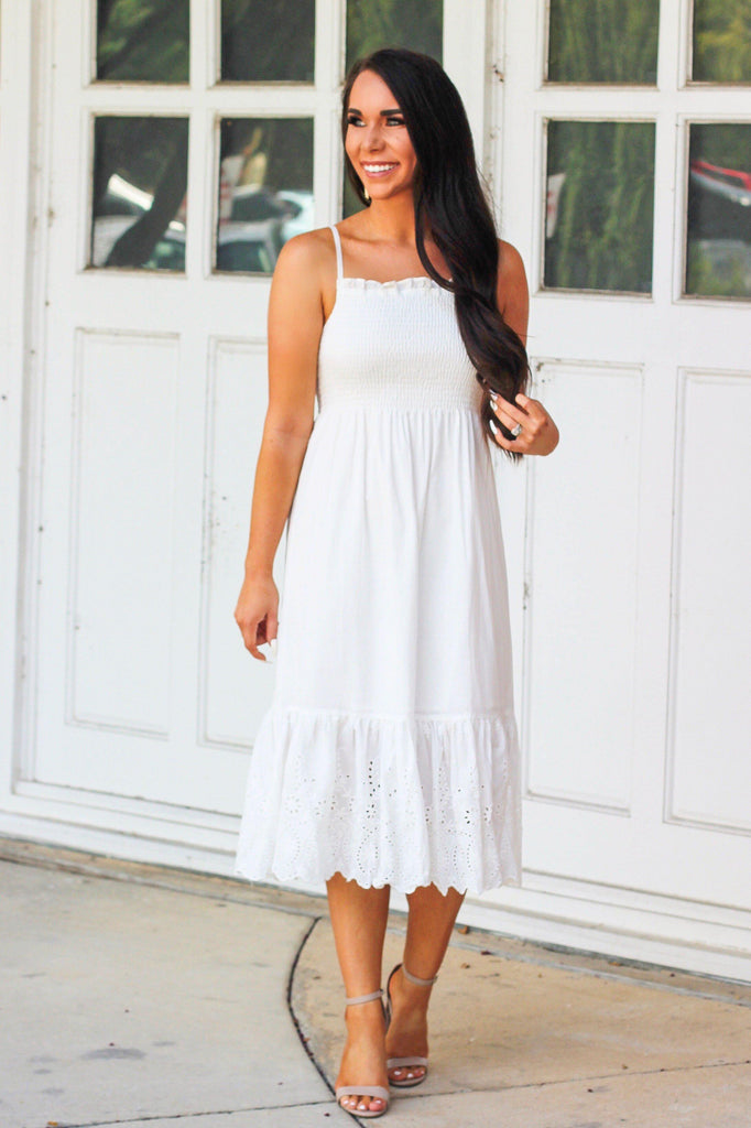 Paradise Midi Dress: White - Bella and Bloom Boutique