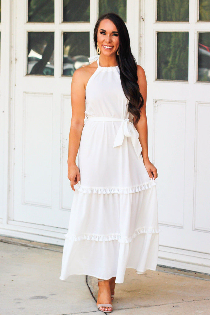 By the Sea Maxi Dress: White - Bella and Bloom Boutique