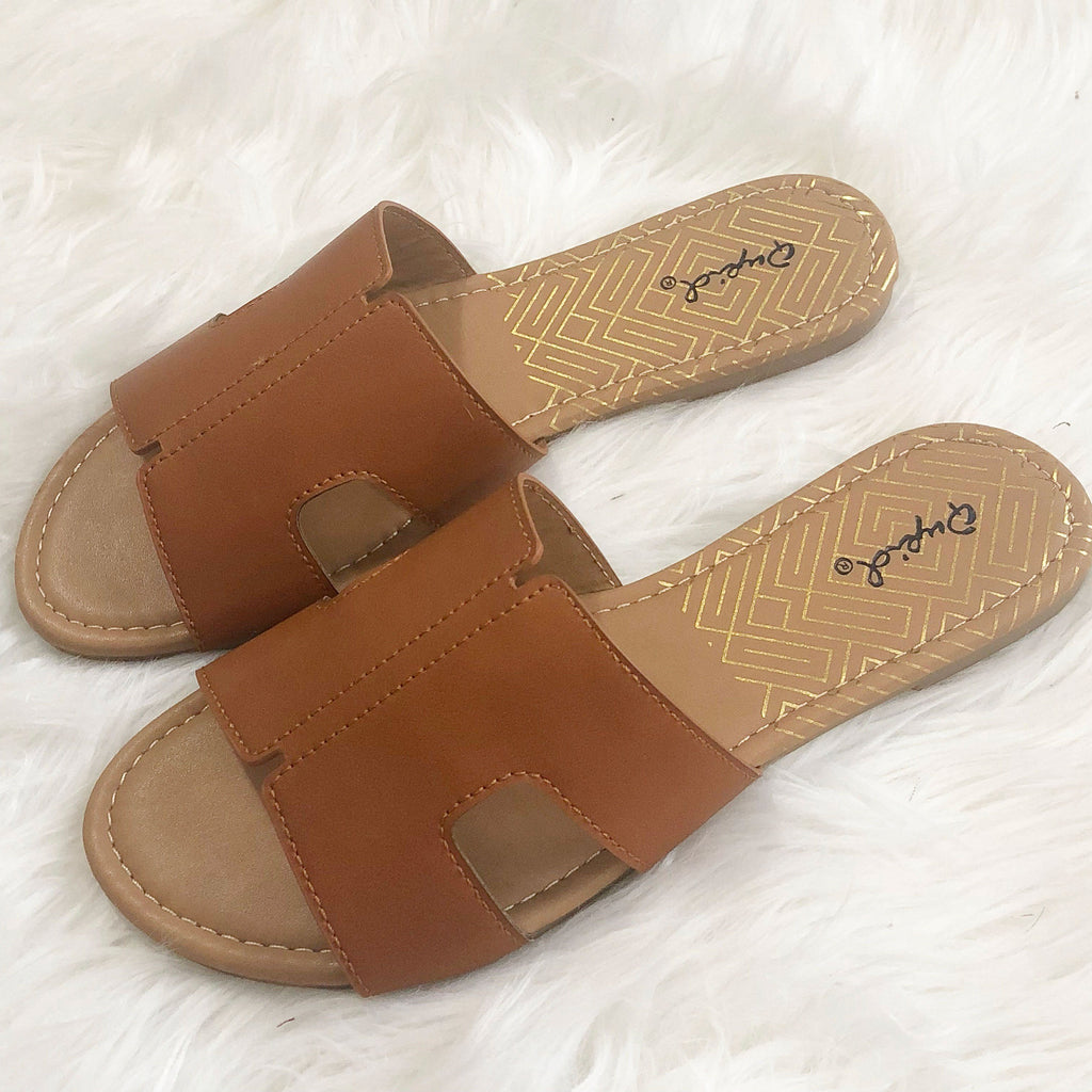 Hailey Sandals: Cognac - Bella and Bloom Boutique