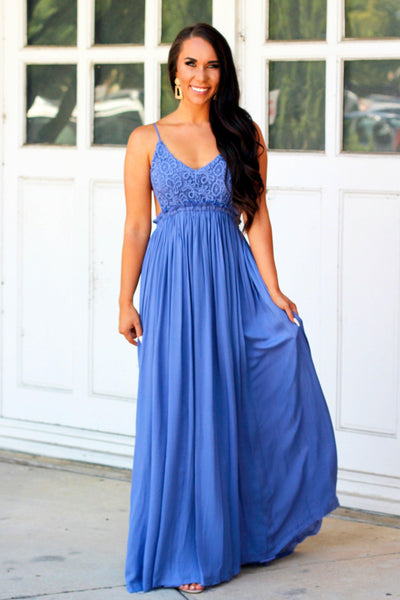 RESTOCK: Love Me Tender Maxi Dress: Indigo - Bella and Bloom Boutique