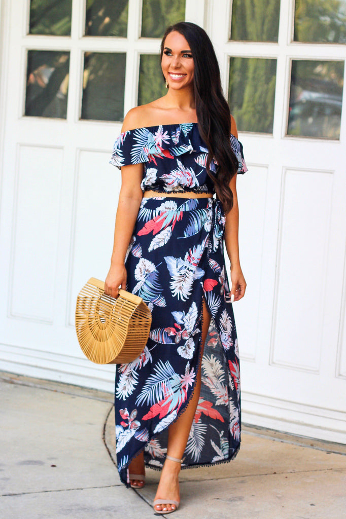 Summer Escape Two Piece Set: Navy Multi - Bella and Bloom Boutique