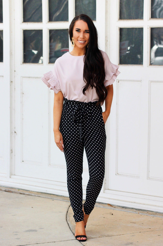 RESTOCK: Dottie Pants: Black/White - Bella and Bloom Boutique