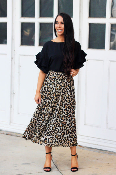 Leopard Chic Midi Skirt: Multi - Bella and Bloom Boutique