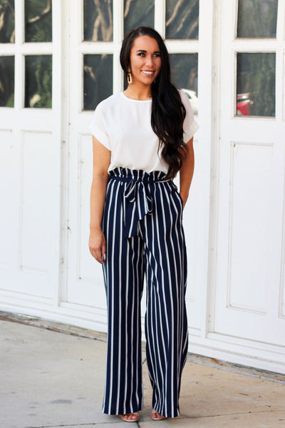 Walk the Line Pants: Navy/White - Bella and Bloom Boutique