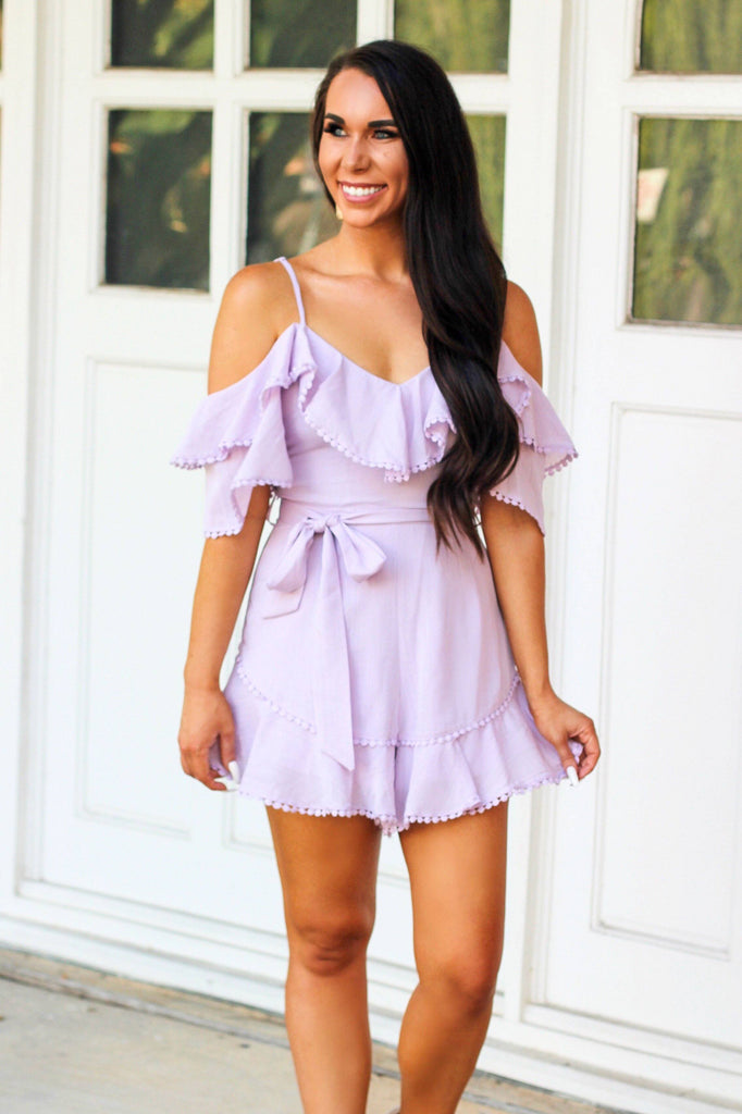 For You I Will Romper: Lilac - Bella and Bloom Boutique