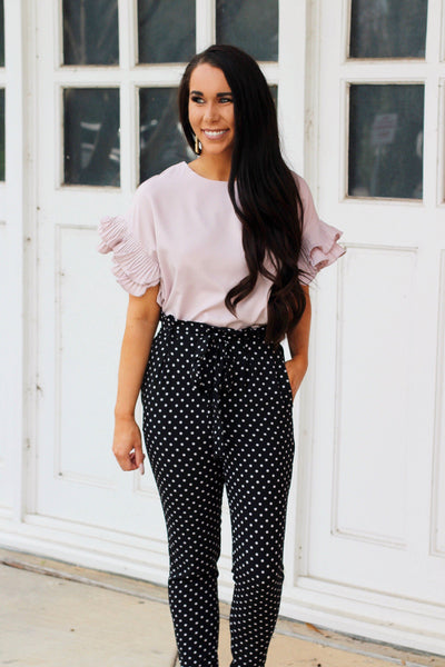RESTOCK: Feminine Frills Top: Blush - Bella and Bloom Boutique