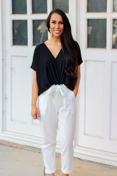 Classic Surplice Top: Black - Bella and Bloom Boutique