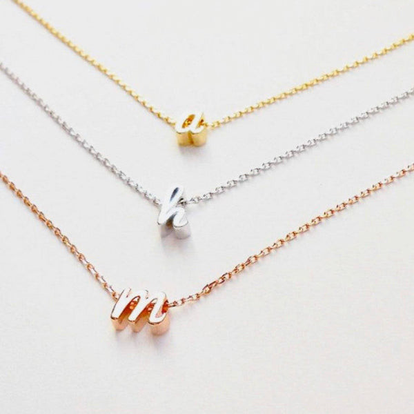 PRE-ORDER: Cursive Mini Initial Necklace: Gold