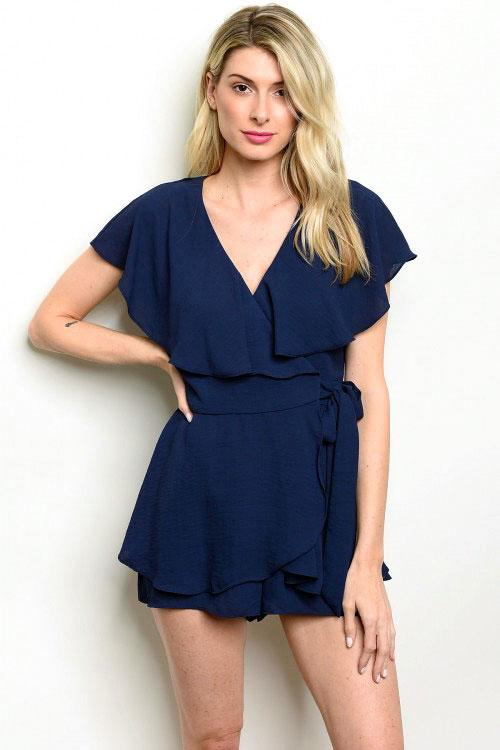 Wrap Me Up Romper: Navy - Bella and Bloom Boutique