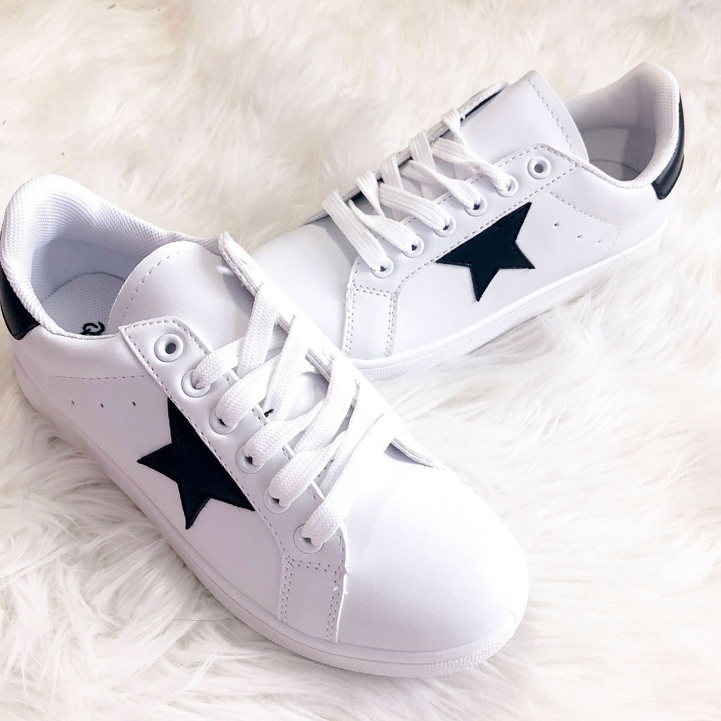 Star Sneakers: White/Black - Bella and Bloom Boutique