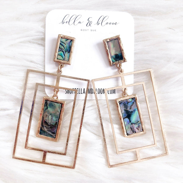 RESTOCK: Daria Earrings: Abalone - Bella and Bloom Boutique