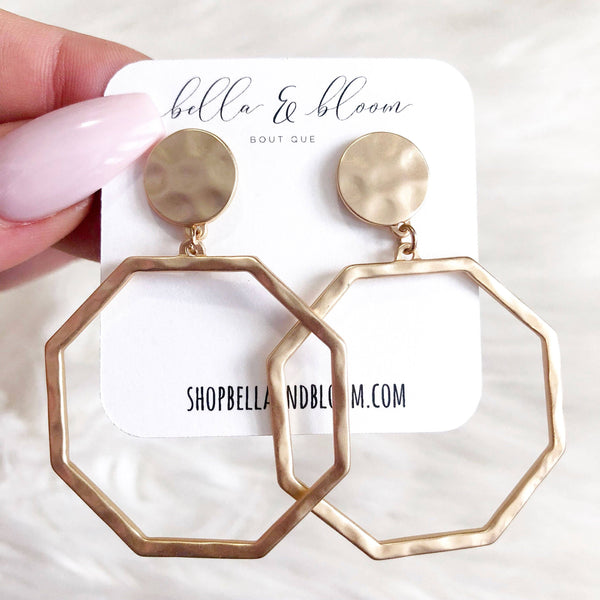 Hammered Octagon Earrings: Matte Gold - Bella and Bloom Boutique