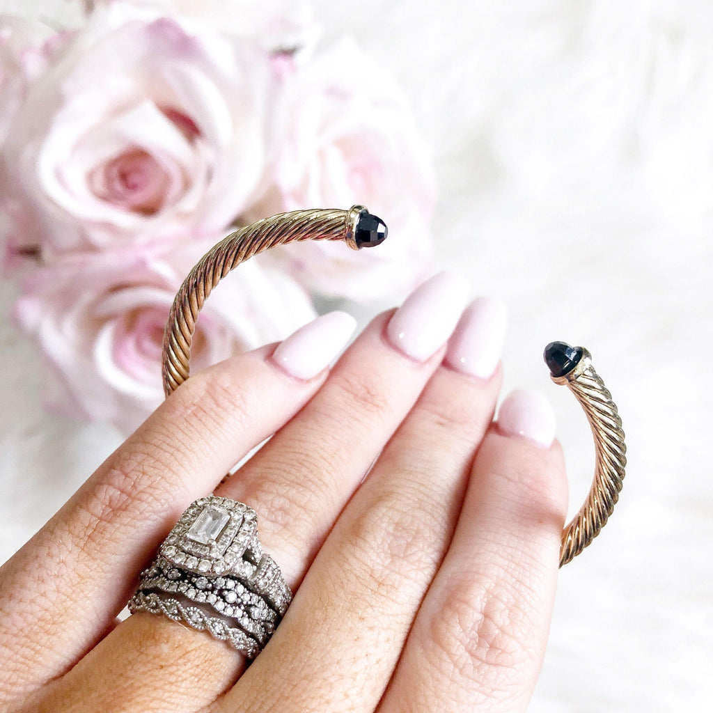 Classic Miniture Bangle: Gold/Black - Bella and Bloom Boutique