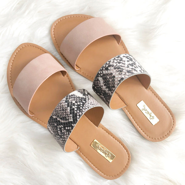 RESTOCK: Casey Double Strap Sandals: Blush/Python - Bella and Bloom Boutique