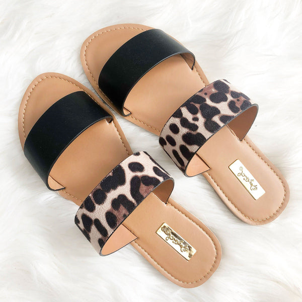 RESTOCK: Casey Double Strap Sandals: Black/Leopard - Bella and Bloom Boutique