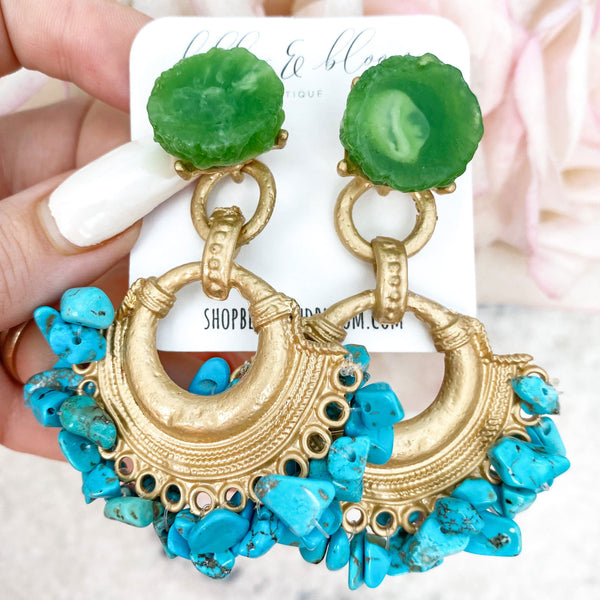Making Statements Stone Earrings: Turquoise/Green - Bella and Bloom Boutique