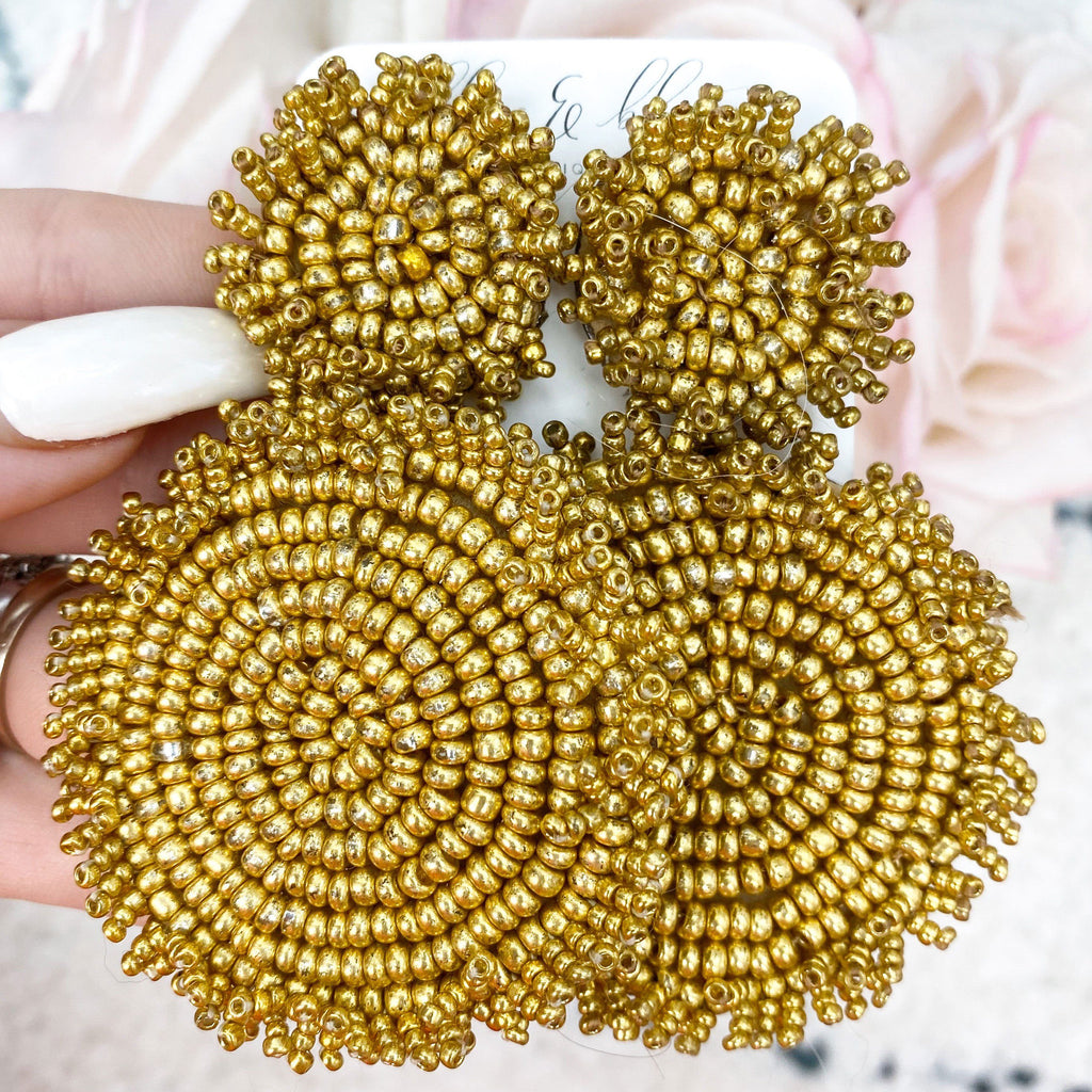 Beaded Disc Earrings: Gold - Bella and Bloom Boutique