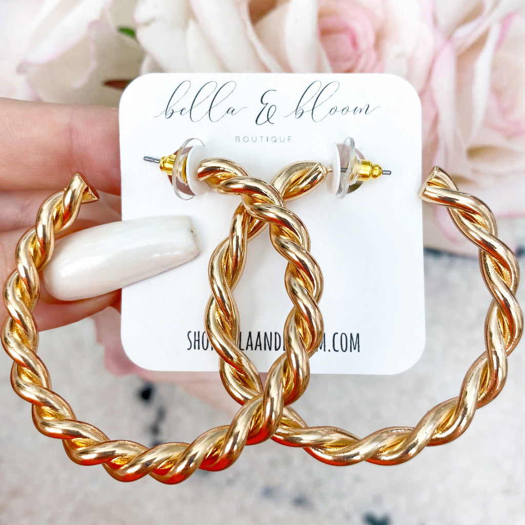Twisted Rope Hoops: Gold - Bella and Bloom Boutique