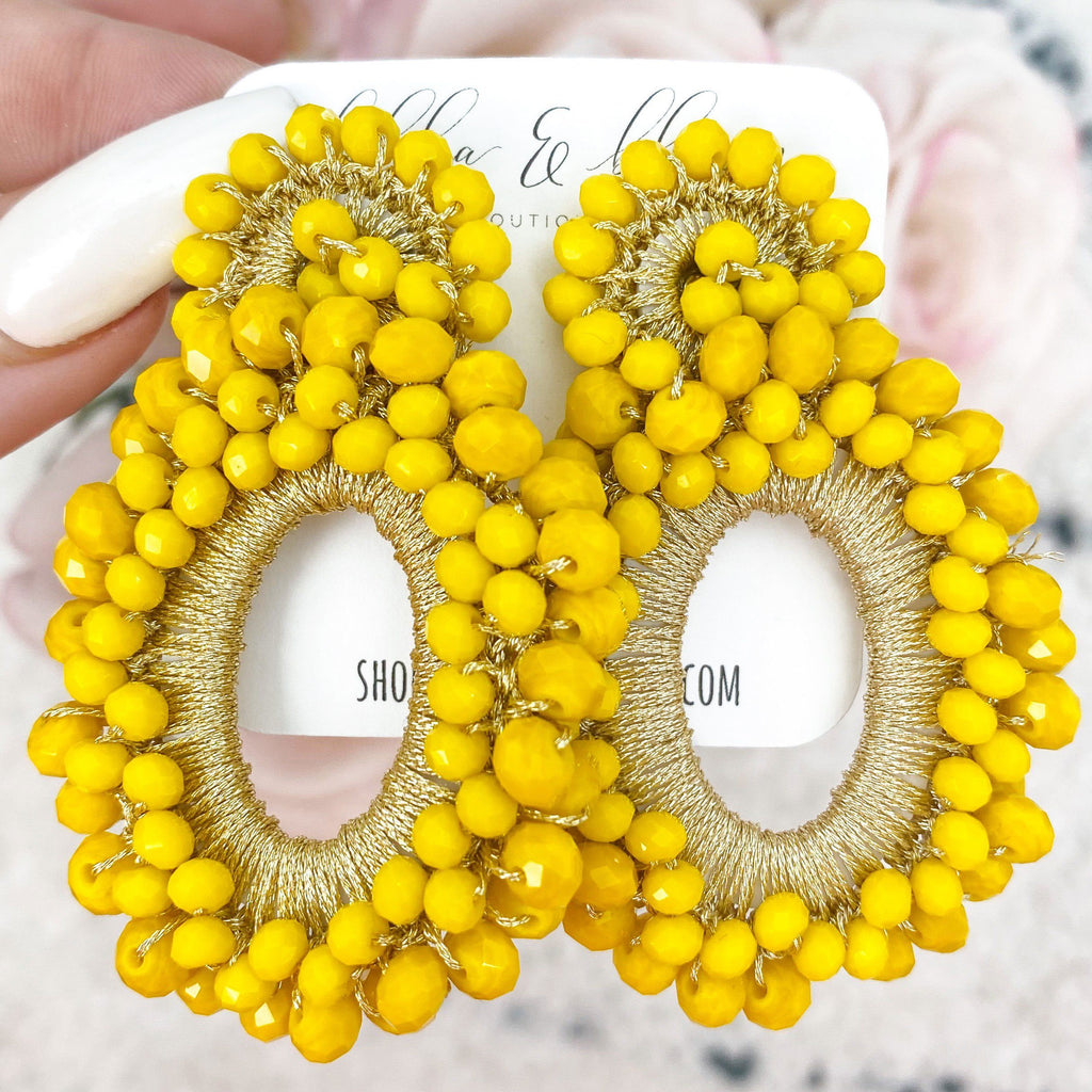 Eternity Beaded Earrings: Yellow - Bella and Bloom Boutique