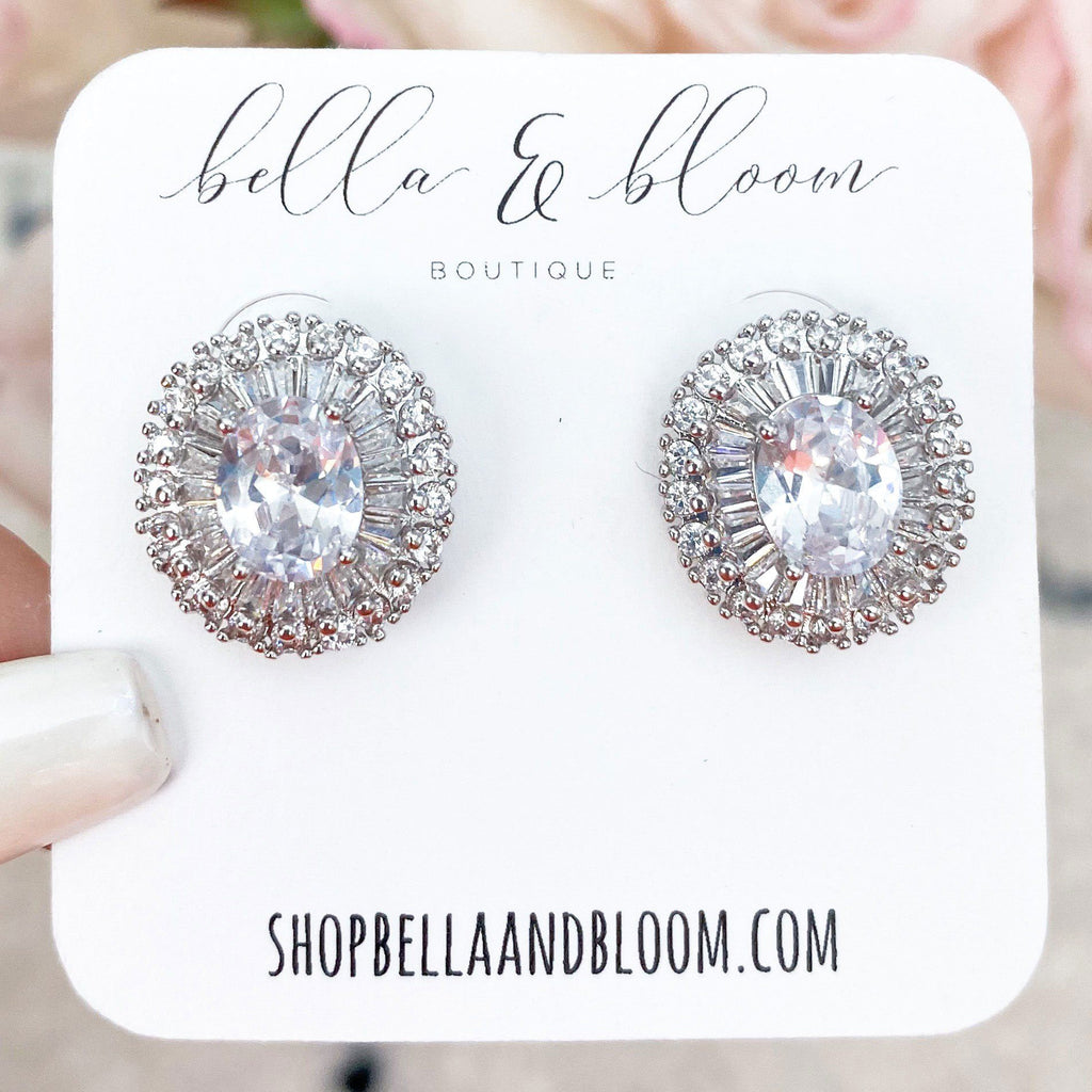 Royal Affair Stud Earrings: Silver - Bella and Bloom Boutique