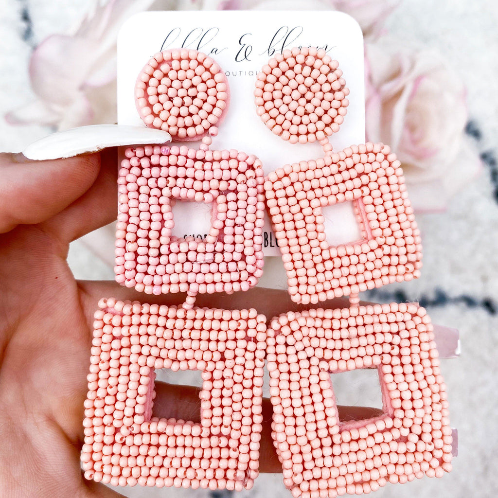 Tri-Square Beaded Earrings: Pink - Bella and Bloom Boutique