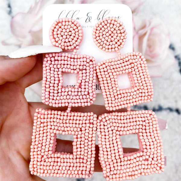 Tri-Square Beaded Earrings: Pink