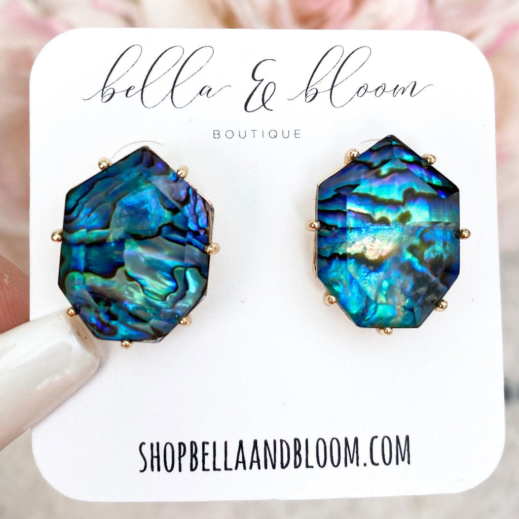 Subtle Pop Stud Earrings: Abalone - Bella and Bloom Boutique