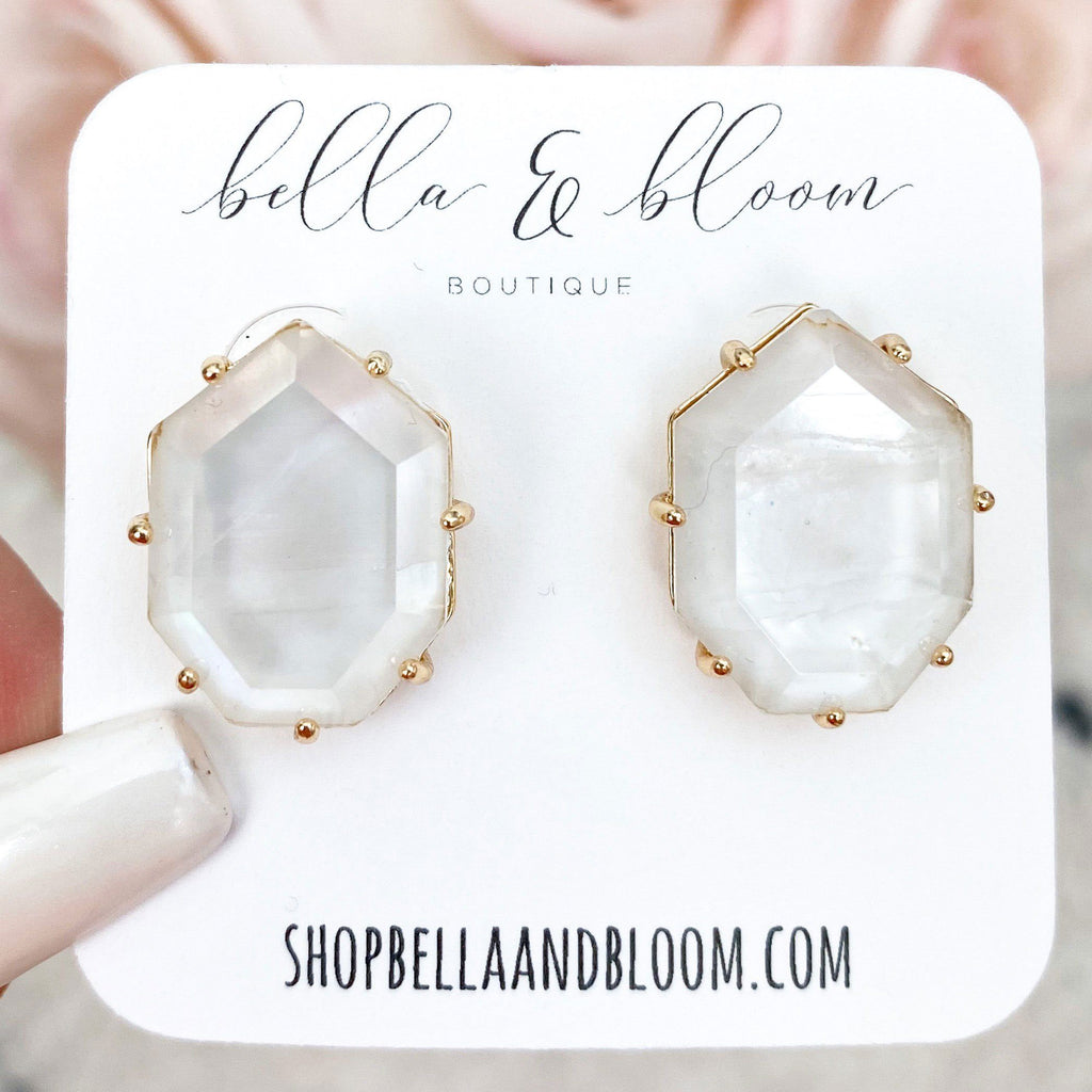 Subtle Pop Stud Earrings: Mother of Pearl - Bella and Bloom Boutique