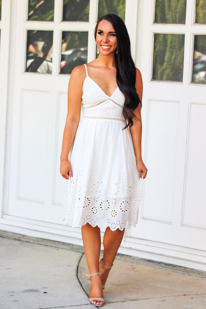 Save the Date Midi Dress: White - Bella and Bloom Boutique