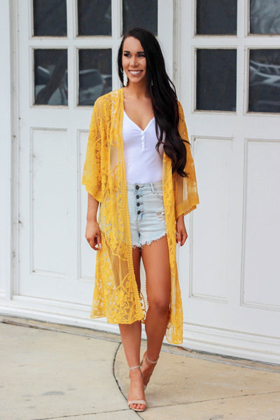 Without You Kimono: Mustard - Bella and Bloom Boutique