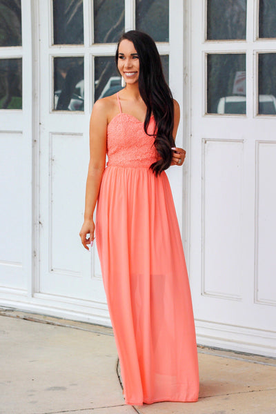 Bright As You Maxi Dress: Neon Coral - Bella and Bloom Boutique