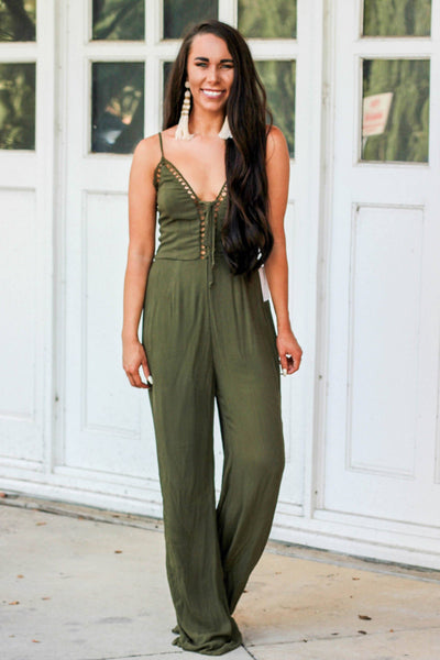Strong Enough Jumpsuit: Olive - Bella and Bloom Boutique